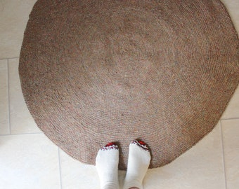 "Handmade Crochet Chunky Round Modern Nursery Rug with Rug Gripper Pad, Modern kids floor mats- Floor round Rug, 44""/112cm in diameter"