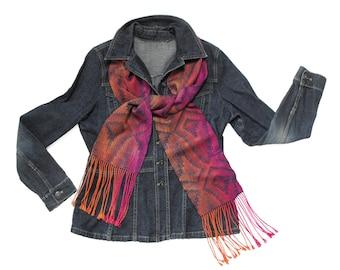 Orange and Pink Silk Scarf Handwoven, Hand Woven Scarf Pink, Orange, Navy Blue Scarf, Diamonds Scarf Orange and Blue, Silk and Tencel Scarf