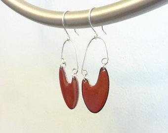 Palette Earrings, Hand-enameled on Copper, Kiln-Fired Glass Enamel, Sterling Silver, Mid-Century-Modern, Boomerang, Colorful Jewelry