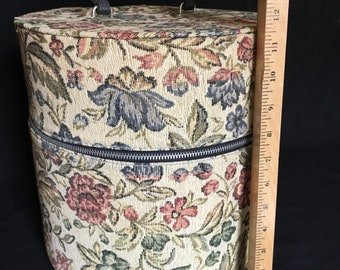 Vintage Monroe floral needlepoint tapistry lockable zippered hat wig box carry all