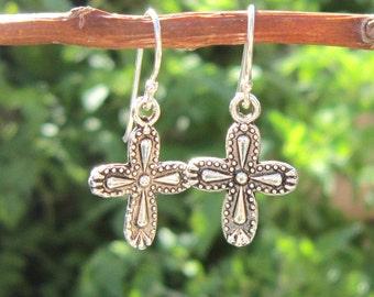 Silver Cross Earrings. Silver Dangle Earrings. Silver Jewelry. Silver Cross Earrings. Cross Jewelry