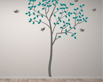 Tree with birds vinyl wall art or sticker