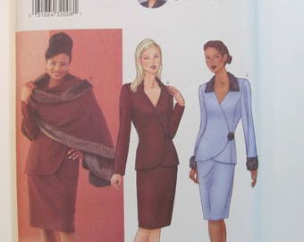 Butterick 6707 Misses or Petite Jacket Top, Stole and Pencil Skirt Suit Pattern Size 12-14-16 or Plus Size 18-20-22  2000 Diahann Carroll