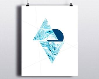 ART PRINT 8x10 Aqua Marble Geometric I