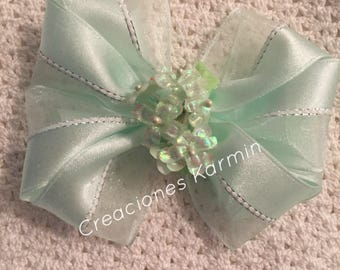 Light Green Organza and Satin  Ribbon Bow
