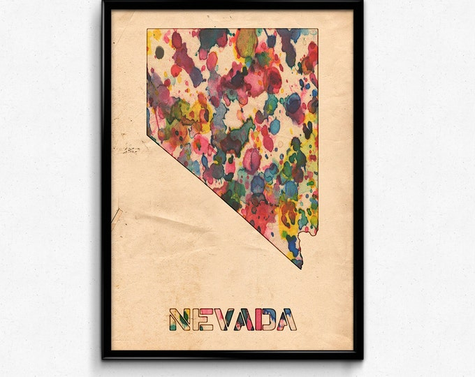 Nevada Map Poster Watercolor Print - Fine Art Digital Painting, Multiple Sizes - 12x18 to 24x36 - Vintage Paper Colors Style
