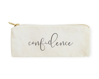 Confidence Cotton Canvas Pencil Case and Travel Pouch for Back to School, Supplies, Cute Teen Gift, Zipper Pouch, Makeup Bag, Stationery