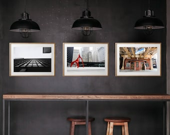Chicago Architecture Street Winter Photography, Large Format Photo Prints, Matted Photo Set of 3, City Photo Set Chicago Winter Wall Art
