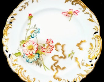 Antique George Jones & Sons Hand-Painted Floral China Plate, 1891