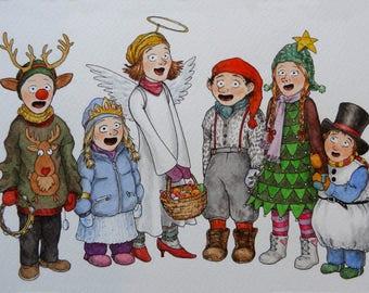 Christmas carols, Julebukk, Christmas card