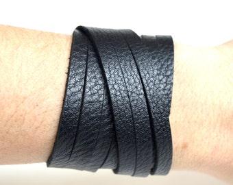 Black Leather Wrap Bracelet Cuff:  Triple Wrap Black Genuine Leather Cuff