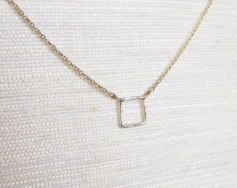 Hammered Sterling and Gold Filled Square Necklace - Mix Metal Necklace - Two Toned Everyday Necklace - Bridesmaid Necklace