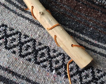 Wood and Leather Toddler Threading Stick