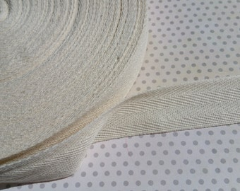 """Cotton Twill Trim Tape Cream - Sewing Shipping Packaging - 1"""" Wide - 20 Yards"""