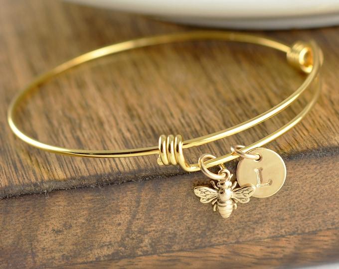Gold Bee Bracelet, Initial Bracelet Gold, Initial Bee Bracelet, Gold Bee Bracelet, Bumble Bee Bracelet, Honeybee Jewelry