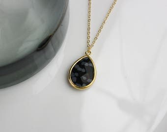 Stone Drop marble-gilded simple necklace chain design