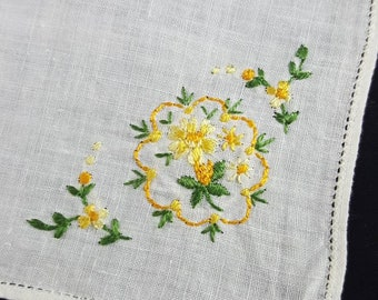 Vintage Handkerchief with Yellow Embroidered Flowers