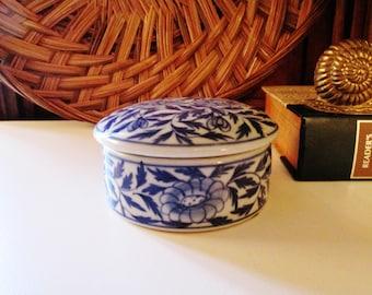 Maitland-Smith Ltd Blue and White Trinket Box, Palm Beach Decor, Chinoiserie Box, Tabletop Decor
