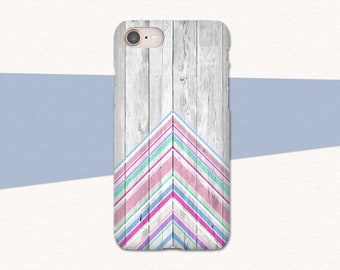 Pretty Pink iPhone 8 Phone Case for iPhone 8 Plus, Faux Wood iPhone X Case, Chevron iPhone 7 Case, iPhone 6S Case, iPhone 7 Plus Phone Case