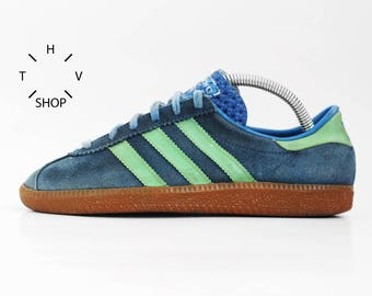 Vintage Adidas Bern sneakers / City Series kicks / Suede blue green Oslo Berlin Athen London Brussels trainers / made in West Germany 70s