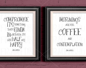 Stranger Things Gift Set Two Quotes Compromise In-Between Halfway Happy Mornings Coffee Eleven 011 Jim Hopper Poster Wall Art Decor 1262