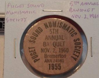 Puget Sound Numismatic Society 1960 Wooden Nickel