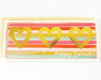 Happy Birthday Stripes Gold Hearts
