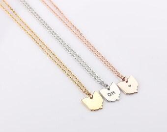 Tiny Ohio Necklace, Gold Ohio Necklace, Silver Ohio Small State Charm, Rose Gold Ohio State Charm State Necklace