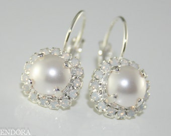 White pearl and White Opal Crystal earring,Silver crystal drop earring,Swarovski crystal drop earrings,White bridal earring,White crystal