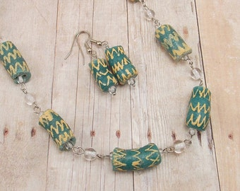 African Glass Bead Necklace and Earring Set - Green and Beige Chevron - Powder Glass - Tribal - Trade - Krobo - Ethnic - Ghana