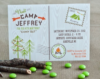 Camping Outdoors Tent S'mores Sleepover Camp Scout Firepit Campfire Boy Birthday - Printable Customized Invitation