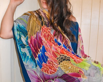 Red Phoenix Scarf, Hand Painted Silk Shawl Wrap, Japanese Scarf, Bird Scarf, Bird Painting, Silk Chiffon Scarf, Made to order