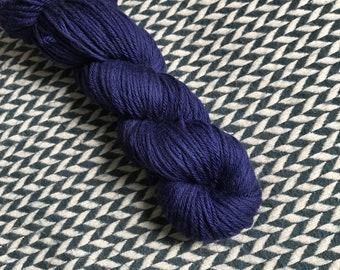 Hand-dyed yarn, Indie dyed yarn, hand dyed yarn NAVY STORM-- dyed to order -- Times Square sock merino/ nylon yarn