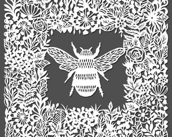 Bee - papercut - art