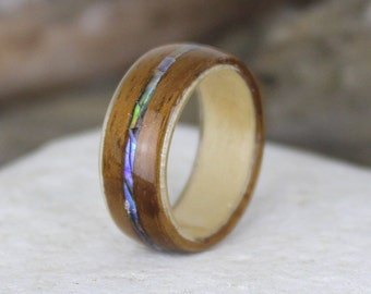 Hawaiian Koa Wood Ring with Maple & Abalone Inlay.  Bent Wood Ring Handmade To Your Size. Beach Wedding Ring, Koa Bentwood Ring.