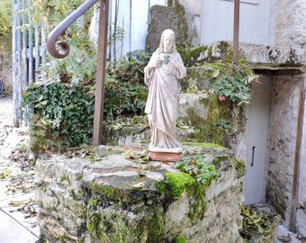 "Religious Statue Jesus Sacred Heart Sculpture-Christian Art 16""/41cm Tall-Plaster Sacre Coeur-Nordic Living, French Vintage Chalkware Jesus"