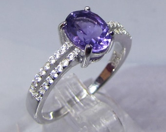 Silver knuckle ring and Amethyst Facettee size 54