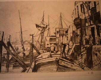 Limehouse James McNeil Whistler large 1927 photogravure print suitable for framing art lovers London East End