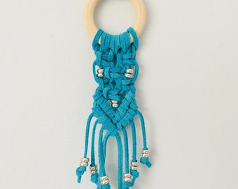 Aqua Leather Macrame Necklace