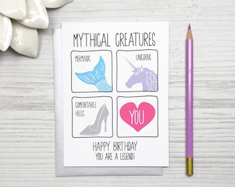Funny Unicorn Birthday Card, Funny Mermaid Birthday Card, Funny Birthday Card for Her, Girlfriend Birthday Card