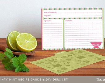 Printable recipe cards and dividers set with 70 editable PDF templates, Instant Download