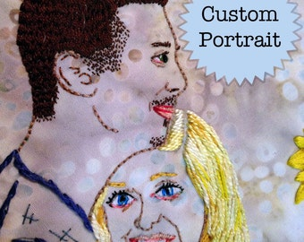 CUSTOM Couples Hand Embroidered Portrait; Embroidered Memorative Portrait up to two people.