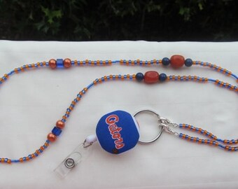 Florida Gators ID Badge Beaded Lanyard ID Badge Holder Orange and Blue