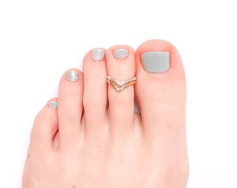 Silver and Gold Toe Ring, Double Chevron Sterling Silver and 14K Rose Gold Filled Toe Ring, Adjustable Toe Ring, Chevron Toe Ring
