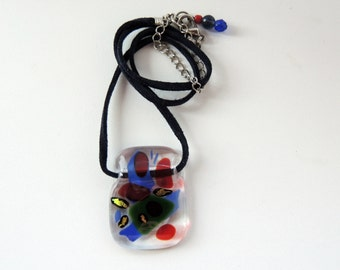 Fused glass necklace,green red blue necklace,dichroic pendant,glass necklace,fused jewelry