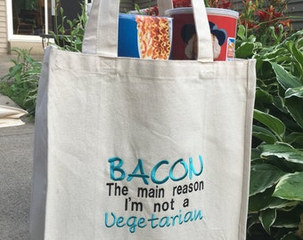 Large Reusable Grocery Bag, Embroidered
