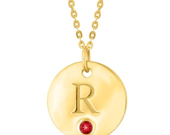 Initial Letter R Necklace, Gold Initial Necklace, Birthstone Letter R Pendant, Gold Plated Initial R Disc Necklace With Personalized Stone