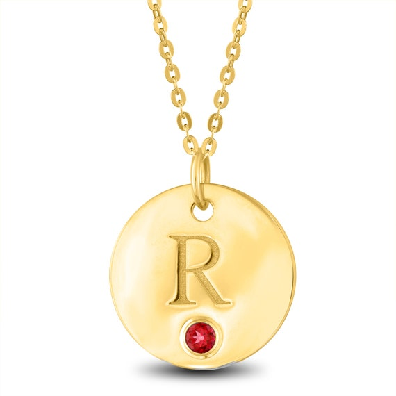 Initial letter r necklace gold initial necklace birthstone te gusta este artculo aloadofball Image collections