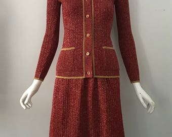 70s LANVIN red & gold lurex knit cardigan and skirt OUTFIT chic 1970s vintage 38 8