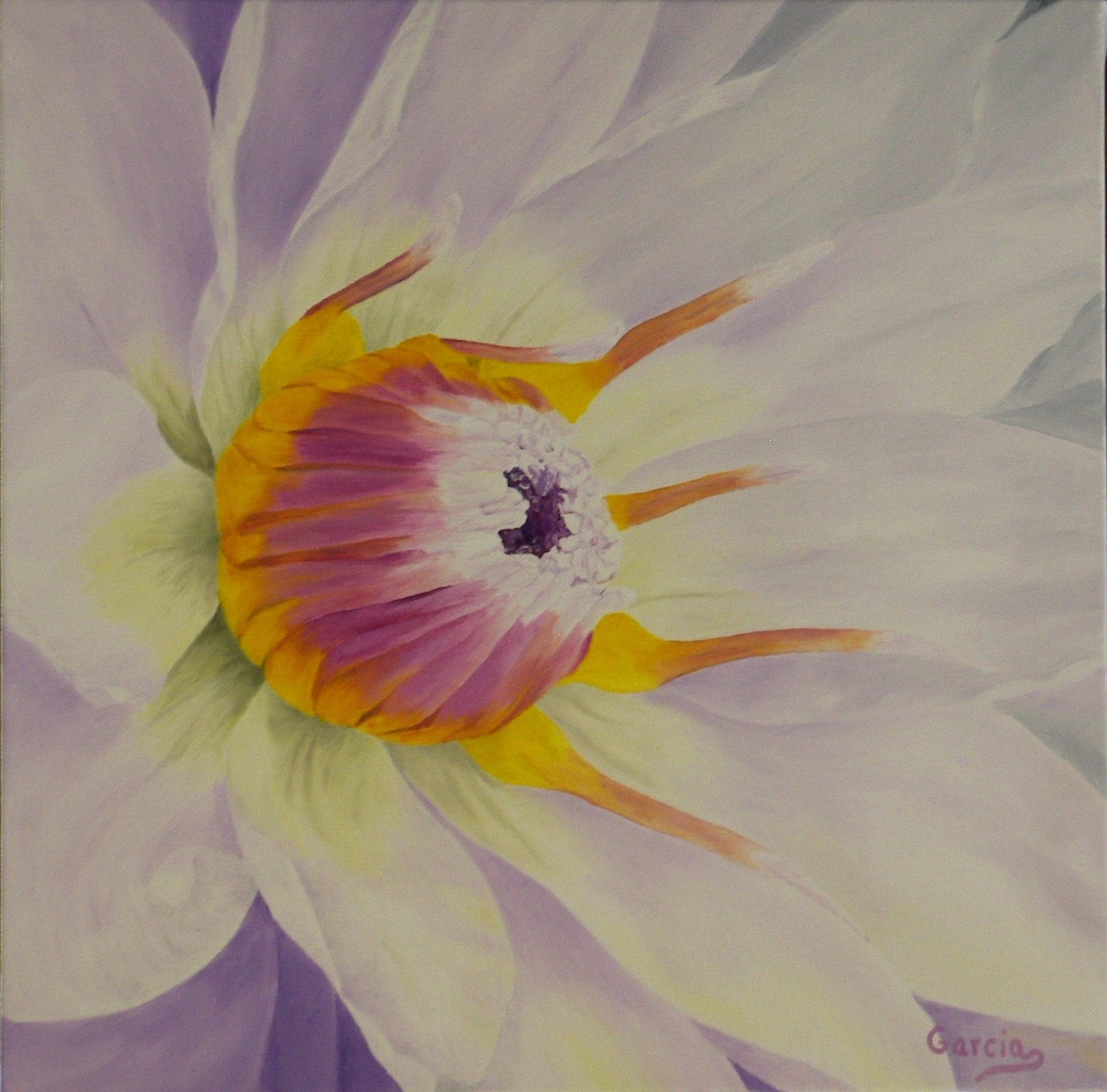 Water Lily Oil Painting Flower Painting Lavender Flower